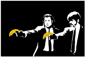 Banksy Poster Print Bananas Poster Street Decor Funny Pulp Fiction Picture Wall Art Pulp Fiction Banksy Street Artist Tarantino Movie Poster 24