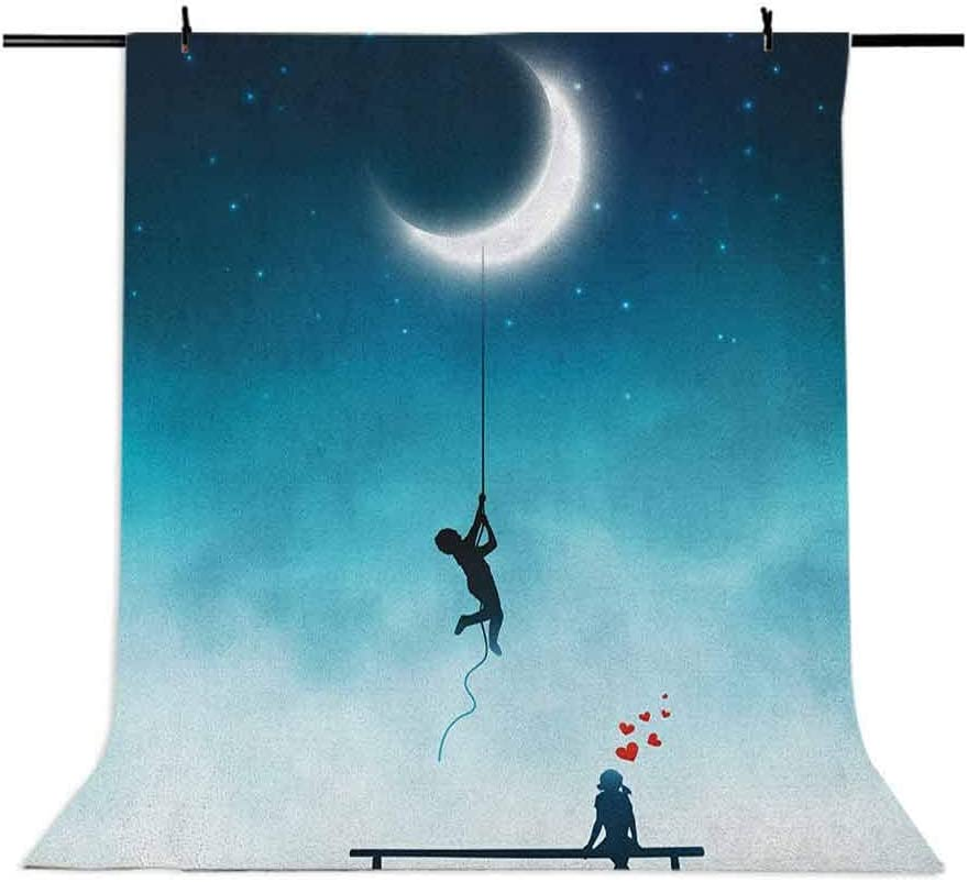 7x10 FT Vinyl Photography Background Backdrops,Boy Climbing to The Moon with Rope and Girl On Bench Love Valentines Fantasy Background for Graduation Prom Dance Decor Photo Booth Studio Prop Banner