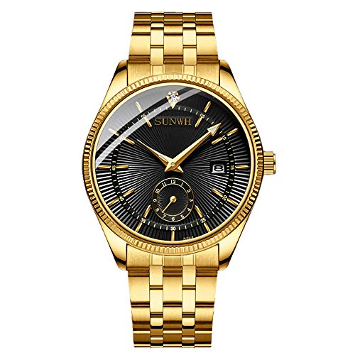 Watches Men Luxury Brand Men Sports Watches Waterproof Full Steel Quartz Men's Gold Black ()
