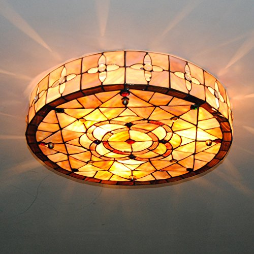 Cheerhuzz 18 Inch Vintage Tiffany Style Drum Ceiling Lamp Stained Shell Flush Mount Lighting Fixture E26/E27 Indoor Shell Drum Lampshade Ceiling Light For Home Decor CL233