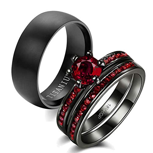 wedding ring set Two Rings His Hers Couples Matching Rings Women's 2pc Black Gold Filled Red CZ Wedding Engagement Ring Bridal Sets Men's Titanium Wedding Band (Titanium Engagement Ring For Her)