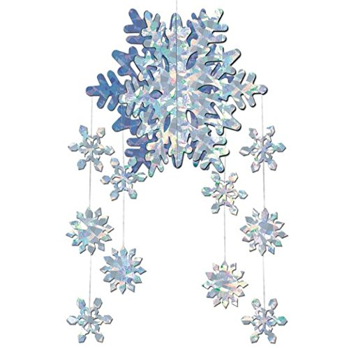 Christmas 3-D Snowflake Mobile 22in., 1/Pkg, Pkg/6