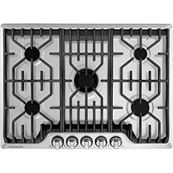 Frigidaire Professional 30 Inch Gas, Stainless Steel 5-Burner with Liquid Propane Conversion Kit, FPGC3077RS Cooktop,