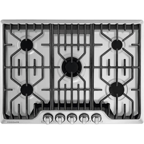 - Frigidaire Professional 30 Inch Gas, Stainless Steel 5-Burner with Liquid Propane Conversion Kit, FPGC3077RS Cooktop