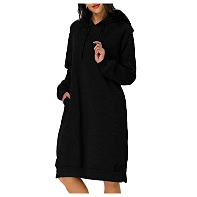 Sttech1 Women's Long Sleeve Solid Loose Hooded Pullover Sweatshirt Hoodie Long Tunic Dress with Pockets: Clothing