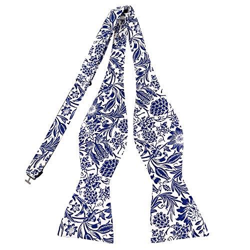(PenSee Mens Cotton Self Bowties Floral Print Bow Ties for Wedding, Groom, Groomsmen)