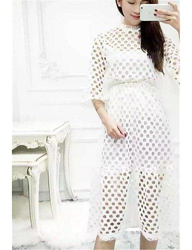 PU&PU Robe Aux femmes Trompette/Sirène Street Chic,Couleur Pleine Col Arrondi Mi-long Polyester , gray-one-size , gray-one-size