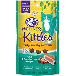 Wellness Kittles Crunchy Natural Grain Free Cat Treats, Tuna & Cranberries, 2-Ounce Bag