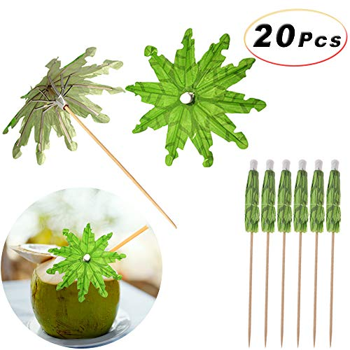 (20Pcs Handmade Cocktail, Fruit, Ice Cream Parasol Sticks Green Tropical Coconut Palm Tree Paper Umbrellas Picks Cupcake Toppers Bamboo Toothpicks, 5.9)