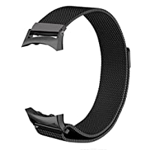 "V-Moro Accessory Milanese Loop Stainless Steel Band With Unique Magnet Clasp For Samsung Gear Fit 2 Fit2 SM-R360 Smart Watch Black Large 6.9""-9.8"""