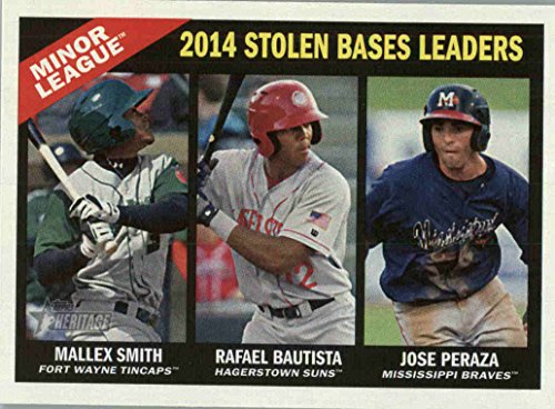 2015 Topps Heritage Minors #196 Rafael Bautista / Jose Peraza / Mallex Smith LL - Hagerstown Suns / Mississippi Braves / Fort Wayne TinCaps (League Leaders)(Prospect / Rookie)(MiLB Baseball - Hagerstown Stores