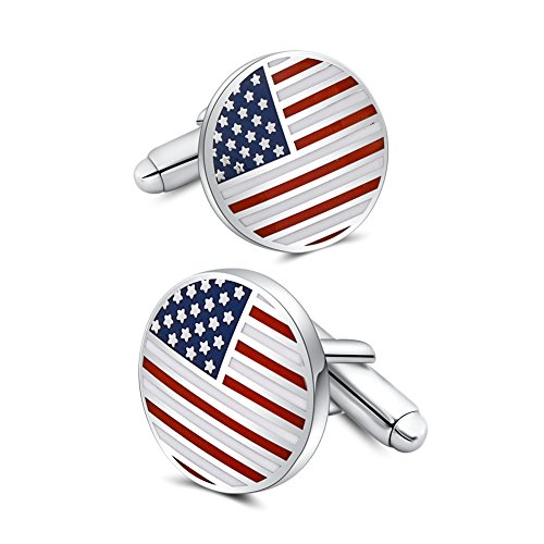 Mr.Van American Flag Cufflinks Platinum Plated Enamel USA Flag Cuff links Men's Accessories Patriotic Gifts (Platinum Mens Cufflinks)