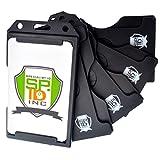5 Pack Specialist ID Multiple Card ID Badge Holders - Heavy Duty Rigid / Hard Plastic (Black)