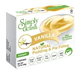 Simply delish Natural Vanilla Pudding Dessert, Sugar free, 1.6 oz., 24-6 packs – Fat Free, Gluten Free, Lactose Free, Non GMO, Kosher, Halal, Dairy Free, Natural