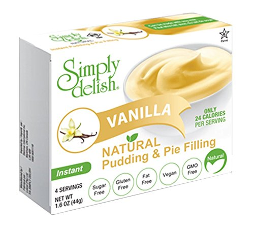 Simply delish Natural Vanilla Pudding Dessert, Sugar free, 1.6 oz., 24-6 packs – Fat Free, Gluten Free, Lactose Free, Non GMO, Kosher, Halal, Dairy Free, Natural by Simply Delish