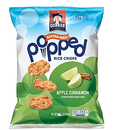 Quaker Popped Rice Crisps Snacks Apple Cinnamon 7.04oz Bag (Pack of 4)