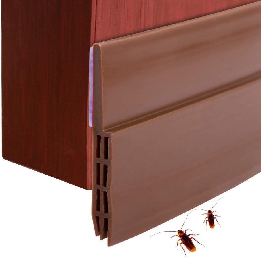 Dricar Burlete Bajo Puerta Exterior - 5*100cm Barrido de Puerta Silicona, 3 Capas Flexibilidad Extrema para Reducir el sonido(Marrón)
