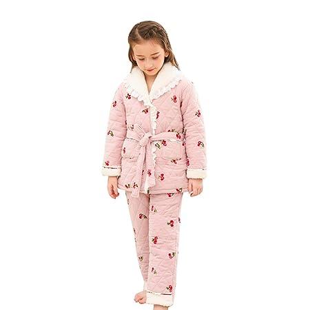 c0cd44db323cb Nighties Pajamas Children's winter thick quilted cotton warm girls home  service suit Cotton plus velvet parent-child (Color : Pink, Size : 110cm):  ...