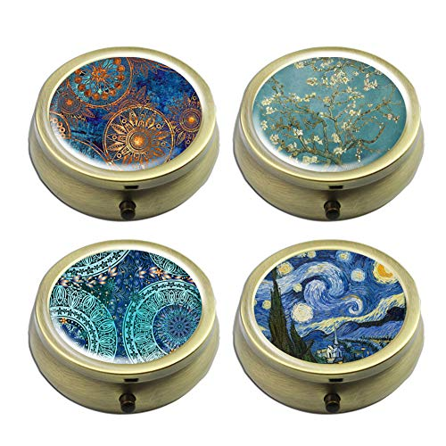 Pill Cases Set of 4 - Cheliz Compact 3 Compartment Medicine Case, Pill Box for Pocket or Purse (Van Gogh Flower Set) from Cheliz