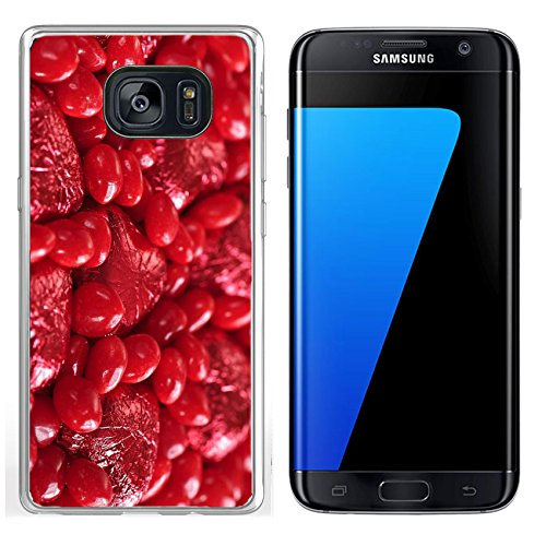 Luxlady Samsung Galaxy S7 Edge Clear case Soft TPU Rubber Silicone IMAGE ID 5618912 Background of red Valentine s candies and foil wrapped chocolates (Chocolate Wrapped Custom)