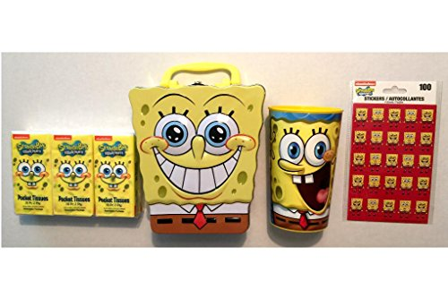 Spongebob Squarepants Gifts Set - Tin + 20 Oz Character Plastic Drinking Cup + Tissue Packs + Stickers -
