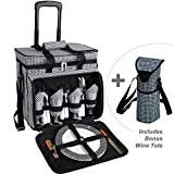 Picnic at Ascot Original Equipped Cooler on Wheels for 4 - Extra Wine Tote - Designed and Assembled in California - Houndstooth