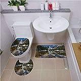 Bath mat set Round-Shaped Toilet Mat Area Rug Toilet Lid Covers 3PCS,Lake House Decor,Dream Mirroring Lake at the Mountain Park in West America River Snow Away Photo,Green Brown Blue Bath mat set Roun