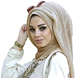 Aisa Women Lightweight Muslim Hijab Cap Purl Islamic Hijab Long Scarf Wrap Shawl Headwear