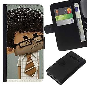 Stuss Case / Funda Carcasa PU de Cuero - Geek Científico del muchacho Hombre rizado Negro Arte del pelo - Samsung Galaxy Core Prime