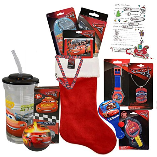 "Disney Pixar ""Cars"" All Inclusive Kids 12pc Pre-Filled Christmas Stocking Featuring Lightning McQueen! Plus Bonus ""Letter To Santa"""