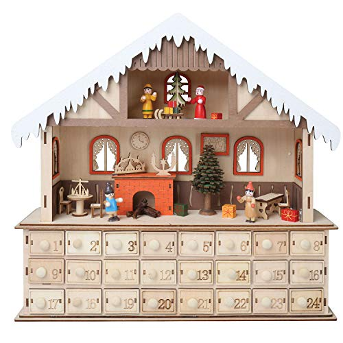 (WHAT ON EARTH LED Lighted Santa's Workshop Wooden Advent Calendar - 24 Opening Drawers)