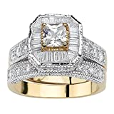 Palm Beach Jewelry 14K Yellow Gold Plated Two Tone Princess Cut Cubic Zirconia Vintage Style Bridal Ring Set Size 7