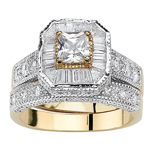 Palm Beach Jewelry White Cubic Zirconia Two-Tone 14k Gold-Plated Vintage-Style 2-Piece Bridal Ring Set Size 8