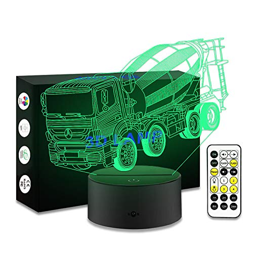 YeeSeeJee Boys Night Light Mixer Truck Night Light with Remote Timer Adjustable 7 Colors for Kids Great Toy Gift Idea for Kids (Toy Mixer Truck)