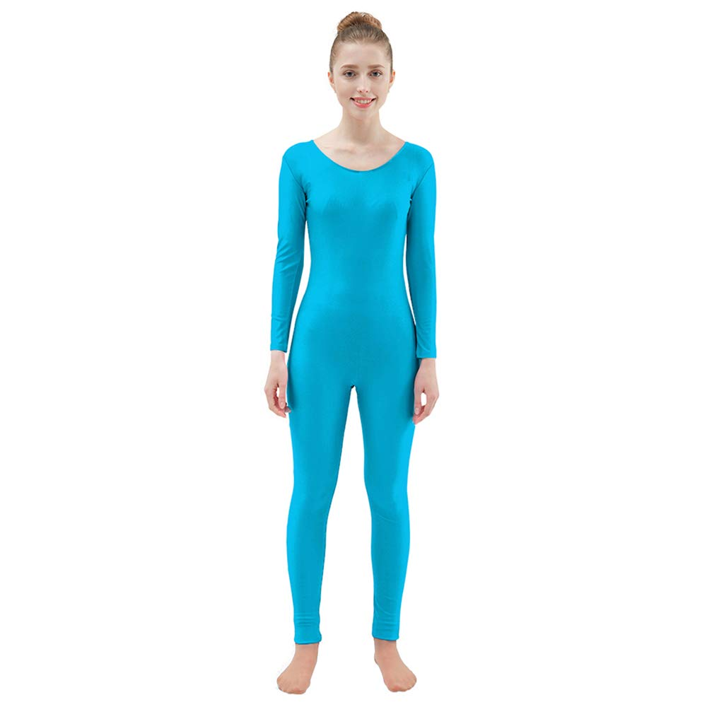 Ensnovo Womens Spandex Bodysuit Long Sleeve Scoop Neckline Footless Unitard Blue,XL by Ensnovo