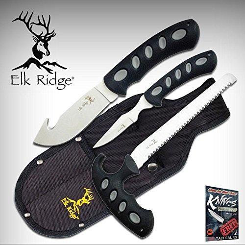 NEW 3-Pc. Elk Ridge Fishing & Hunting Bone Saw Gut Hook Field Dressing Elite Knife Set + free eBook by ProTactical'US -