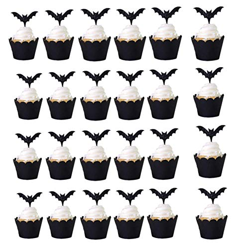 48 Pcs Halloween Bat Cupcake Toppers and Wrappers, Cupcake Liners Halloween Picks for Halloween Party Cake Decoration