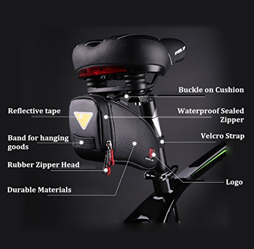Pioneeryao Saddle Bag Strap on Bicycle Bike Bag Under Seat Packs Seat Bag