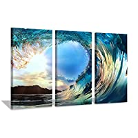 Hardy Gallery Ocean Waves Artwork Canvas Picture: Sunset Seascape Painting Print Art on Canvas for Living Room Office Wall (26
