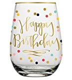 Slant Collection 20oz Stemless Wine Glass Happy Birthday, Multicolor
