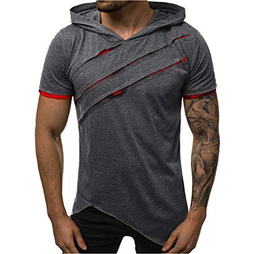 Beautyfine Men's Hooded T Shirt Summer Casual Short Sleeve Patchwork Slim Top Dark Gray