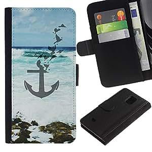 For Samsung Galaxy S5 Mini(Not S5), SM-G800 Case , Blue Sea Waves Art Beach - la tarjeta de Crédito Slots PU Funda de cuero Monedero caso cubierta de piel