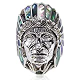 Abalone Shell Native American Indian Chief Head .925 Sterling Silver Ring