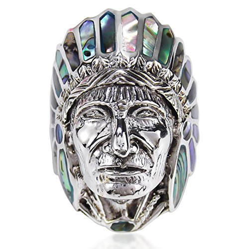 Abalone Shell Native American Indian Chief Head .925 Sterling Silver Ring (11)