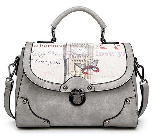 La mujer Xinmaoyuan Bolsos Bolso Retro Imprimir Bolso Messenger Bag Bolso cuadrado pequeño, gris Gris