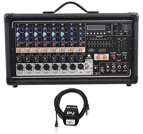 Peavey Pvi8500 400 Watt 8-Channel Powered Live Sound Mixer w/ Bluetooth+Cable 8 Channel Powered Mixer Peavey