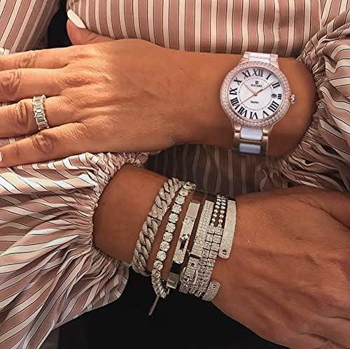 KICAND Montre pour Femme Quartz Blanc en Céramique Acier Inoxydable Assorti de Cristaux Or Rose et Fenêtre Dat