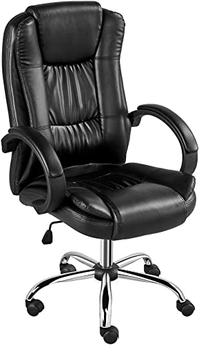 Yaheetech High-Back Bonded Leather Office Desk Chair Ergonomic Swivel Conference Chair Rolling Task Chair Height Adjustable