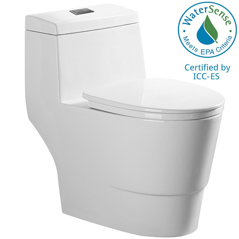 WOODBRIDGE T-0019 W Dual Flush Elongated One Piece Toilet, Cotton White by Woodbridge