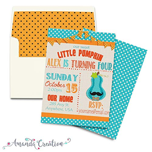 Little Pumpkin Boy Birthday Party Invitation ()